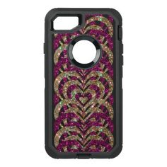 #pink - #Pink & Gold Glitter Spiral Vortex Hearts - OtterBox Defender iPhone 7 Case