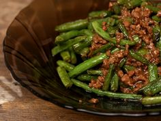 Fasole+verde+cu+carne+tocata+la+wok