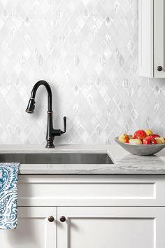 White Backsplash Tile White Gray Marble Countertop And White Cabinet