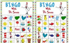 This FREE Dr. Seuss Bingo Printable is a great way way to add even more fun to your Dr. The more the merrier with 18 different game cards. Dr Seuss Game, Dr Seuss Week, Dr Suess, Dr Seuss Crafts, Preschool Crafts, Preschool Classroom, Classroom Decor, Preschool Activities, Free Bingo Cards