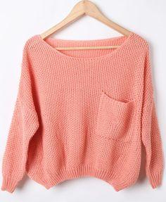 Pink Batwing Long Sleeve Pocket Embellished Sweater #SheInside