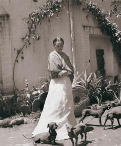 Frida Kahlo with dogs