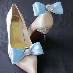 Something Blue Ribbon Bow And Rhinestone Shoe by Chuletindesigns, $22.00