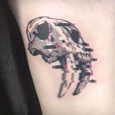 Animal skull tattoo by Damian Orawiec - Tattoo Life Rose Tattoos, Body Art Tattoos, Sleeve Tattoos, Animal Sleeve Tattoo, Key Tattoos, Butterfly Tattoos, Flower Tattoos, Animal Skull Tattoos, Animal Skulls