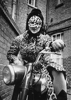 Olivia Lousada on a motorcycle outside Rosetti Studios, London, 1967.