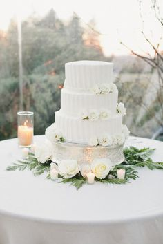 A Lovely California Wedding Affair from onelove photography - white wedding cake idea All White Wedding, White Wedding Cakes, Mod Wedding, Dream Wedding, White Weddings, Floral Wedding, Wedding Ceremony, Wedding Flowers, Traditional Wedding Cake