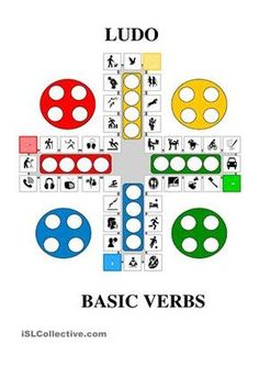 This game can be used to practise basic verbs. The rules are similar to a regular game of Ludo - the only difference is that when you counter lands on a new square, you must say the proper verb, or make a sentence e.g. She is watching TV - ESL worksheets
