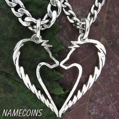 Tribal Wolf Necklace Couples Jewelry set handcrafted door NameCoins, $74.99