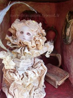 Inside of paper mache Doll-house mde by  Laetitia Miéral