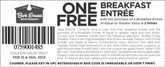 FREE Breakfast Entree at Bob Evans (2/15-16) on freestuffjilly.com