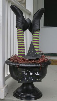Halloween Porch Decor I bet you could use a swimming pool noodle cut to desired length and then find some stockings and shoes from the Goodwill to finish it off. Save this for Halloween. Spooky Halloween, Halloween Veranda, Outdoor Halloween, Holidays Halloween, Halloween Treats, Happy Halloween, Halloween Party, Pool Noodle Halloween, Halloween Signs