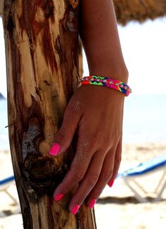 Rhinestone Friendship Bracelet in Hot Neons. от makunaima на Etsy