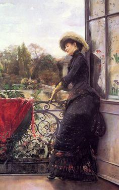 Sur La Terrasse (1884) by Julius LEBLANC STEWART