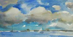 Peter van Loon - Hollands weer aan de Nieuwe Merwede 2016 - waterverf op papier. watercolour on paper.