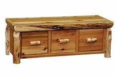 3 Drawer Cedar Log Bench