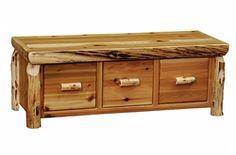 3 Drawer Cedar Log Bench