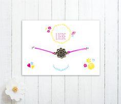 """Grüße - Geschenk-Karte """"Alles Liebe"""" und Blumen-Armband - ein Designerstück von Veedelswerk bei DaWanda"""
