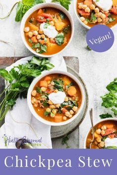 This cozy Chickpea Stew is naturally vegan and gluten free. It is so hearty and filling and only 300 calories per serving!