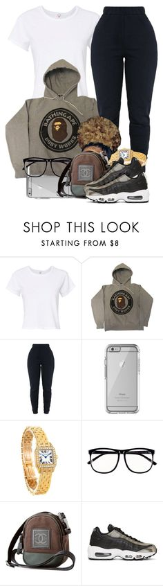 """""""01/08/18"""" by jasmineharper ❤ liked on Polyvore featuring RE/DONE, A BATHING APE, OtterBox, Cartier, H&M, Chanel and NIKE"""