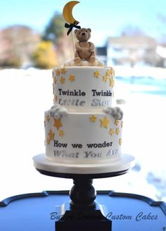 THIS WOULD BE GREAT WITH SIMPLE STAR AND MOON ON TOP IN COLOR YELLOW Gender Reveal - Cake by Elisabeth Palatiello