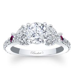 """Barkev's 14K White Gold Diamond Encrusted """"Unique"""" Engagement Ring Featuring Marquise Cut Diamonds 0.71 Cts Diamonds and 0.12 Cts Pink Sapphires Style 7996LPSW"""