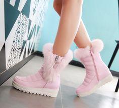 Hot! Plus Size 35 43 2016 New Womens Mid Calf Boots Black/White/Pink Waterproof Platform Winter Fur Snow Boots Women Shoes O1775-in Women's Boots from Shoes on Aliexpress.com | Alibaba Group