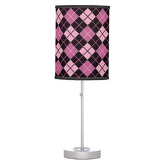 Argyle Pattern in Black and Pink Table Lamps $44.95