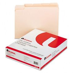 Universal - File Folders, 1/5 Cut Assorted, One-Ply Top Tab, Letter, Manila, 100/Box - Pack of 15. Classic folder constructed to resist tearing. Bottom triple-scored for no-sag expansion. Undercut at tabs for increased indexing area. 11 pt. Manila.