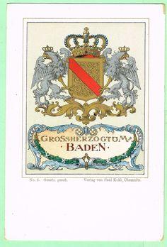 Postcard Coat of Arms Baden No. 6 Gesetzlich geschhutzt Kunstverla Paul Kohl