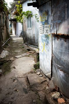 A back street in Kowloon, Hong Kong in a small fishing village