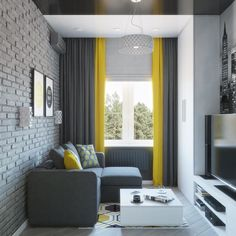 Home Design Living Room, Apartment Interior, Small Living Room Decor, Small Apartment Interior, Living Room Decor Curtains, Home Room Design, Living Room Decor Apartment, Yellow Decor Living Room, Yellow Living Room