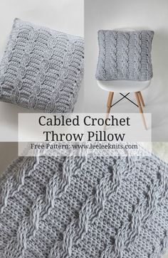 Crochet Cabled Throw Pillow Pattern - Leelee Knits