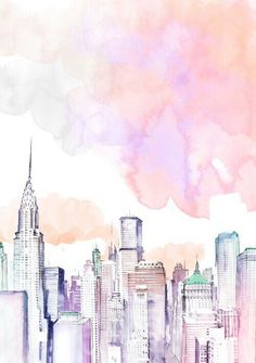 New York skyline illustration in watercolor More – # d – Christin @ – Vipetrichor Vipetrichor images Ideas of the Aesthetic Wallpaper Iphone Pink Ideas of the Aesthetic Wallpaper Iphone Pink – – # Tropical Jungle Leaves Pattern # … Altar Particular, Oeuvre D'art, Cute Wallpapers, Desktop Wallpapers, Wallpapers For Computer, Wallpaper For Phone, Winter Wallpapers, Aesthetic Wallpapers, Watercolor Art