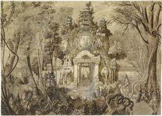"""""""Une portes d'Angkor Thom"""" de Louis Marie Joseph Delaporte. Paris, musée Guimet - musée national des Arts asiatiques - Photo (C) RMN-Grand Palais (musée Guimet, Paris) / Thierry Ollivier"""