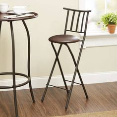 "Mainstays Slat Back Folding 30"" Bronze Barstool, Multiple Colors - Walmart.com"