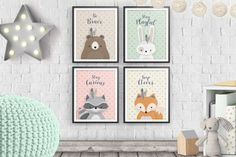 Print Set, Set of 4, Woodlands Nursery, Forest Animal Set, Nursery Art, Forest Friends, Nursery Forest Decor, Bear Fox Bunny Racoon, Neutral. ❥ This beautiful and genuine handmade Woodlands Set features 4 cute Forest Friends - Bear, Fox, Bunny and Racoon, on Pink, Yellow, Light Brown and Mint delicately textured backgrounds, with Inspirational quotes: Bear: Be Brave Fox: Keep Clever Bunny: Stay Playful Racoon: Stay Curious Perfect as a gift for a new-born Baby!  ❥ These art prints are…