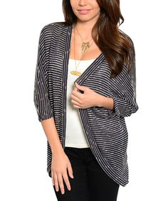 Look at this Navy & Cream Stripe Dolman Cardigan on #zulily today!