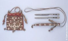 Wedding Knives, with original case and purse.  The blades are marked with a dolphin for Henry Dyke, 1610. Cutlers' Company of London.  See British cutlery, p. 13.