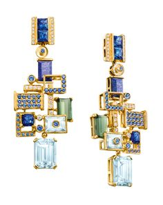 Chow Tai Fook - Reflections of Siem - Halcyon earrings - emerald-cut aquamarines, lapis lazuli, tourmalines and blue sapphires mounted to resemble the floating villages on Lake Tonlé Sap, forms part of the Chinese jeweller's fourth annual