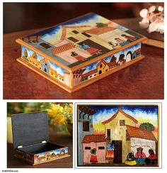 Painted glass jewelry box, 'Village Houses' - Andean Folk Art Handmade Glass Jewelry Box (image 2)