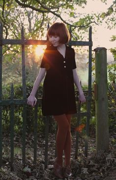 The Clothes Horse: black dress, rust colored tights and shoes