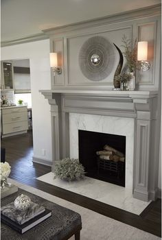 40 Awesome Farmhouse Fireplace Decor Ideas And Remodel FarmhouseFireplaceDecorIdeasAndRemodel Fireplace Redo, Grey Fireplace, Family Room Fireplace, Farmhouse Fireplace, Fireplace Remodel, Fireplace Surrounds, Fireplace Design, Simple Fireplace, Painted Fireplace Mantels