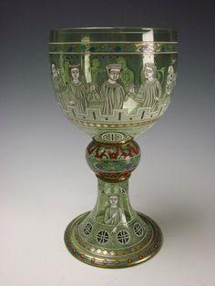 Antique Lobmeyr Bohemian Enamel Glass Vase Enameled Signed c1880