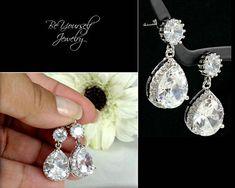 White Crystal Wedding Earrings Teardrop Bridal Earrings Cubic