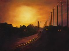 This is a pastel painting I did last week.  It's one of my favorite places to go, Provincetown, MA.  The tiny cottages on the narrow streets with the old fashioned telephone poles speak to me.  The sun was just going down with this warm glow cast over the city.  www.danniellemick.com  www.lakesideartstudio.com