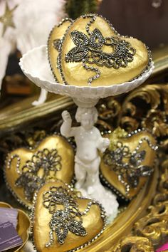 ornamornaments made of old dress embellishments! --Romancing the Home: One of a Kind Christmas Gifts