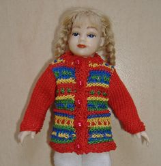 "Multi-Coloured Jacket to fit 3.75"" doll (74) - miniature knitting - 1/12 scale - dollshouse"