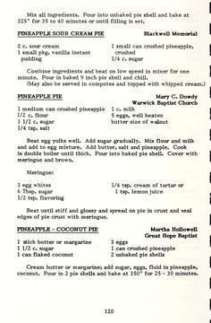 Retro Recipes, Old Recipes, Vintage Recipes, Cooking Recipes, Cookbook Recipes, Pineapple Pie, Pineapple Recipes, Just Desserts, Pastries