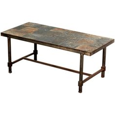 Exceptional steel and slate French 50's coffee table #GISSLER # interiordesign