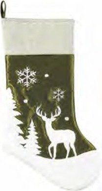 8.5x20 Inches Christmas Stocking, Woodland Frost, Green Velvet White Deer, Snow Silhouette Embroidered